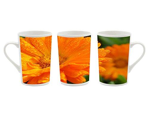 1Pcsx Ceramic Mug Coffee Cup - Orange Calendula - Picture Printing White Ceramic Coffee Milk Cup Porcelain Mugs 13.5 oz ()