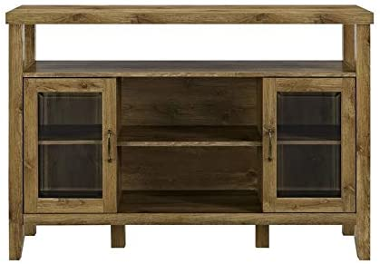 Pemberly Row 52 Entertainment Credenza Highboy TV Stand Console Buffet Sideboard Entryway Cabinet in Barnwood