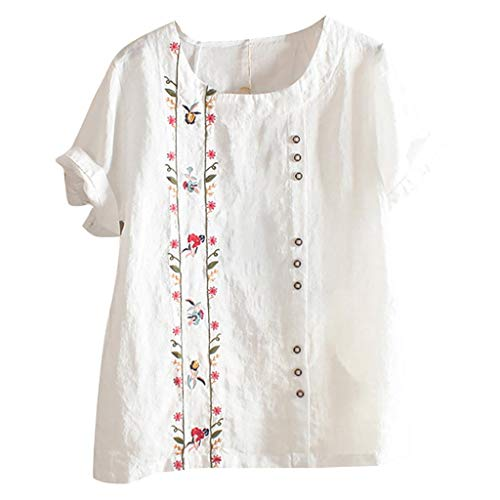 Floral Embroidered Shirt, QIQIU Womens Summer Fashion Bohemian Short Sleeve Linen O-Neck Plus Size Loose Tank Tops White