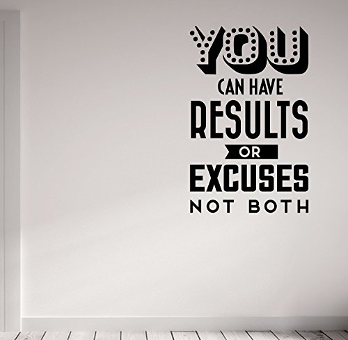 You Can Have Results or Excuses Not Both Vintage Retro Style Wall Decal Motivational Quote-Health and Fitness Spinning Kettlebell Crossfit Workout Boxing UFC MMA