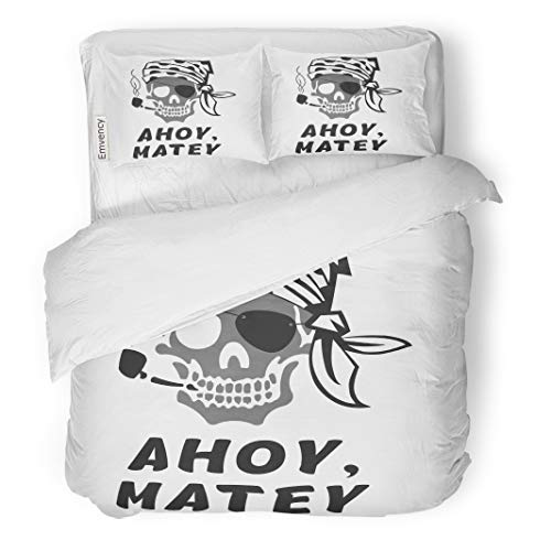 Semtomn Decor Duvet Cover Set Twin Size Anchor of Skull Captain Inscription Ahoy Matey Hello Friend 3 Piece Brushed Microfiber Fabric Print Bedding Set ()