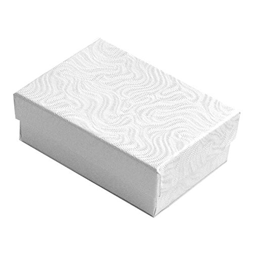 Swirl White Cotton Filled Jewelry Boxes #32 - Pack of 100