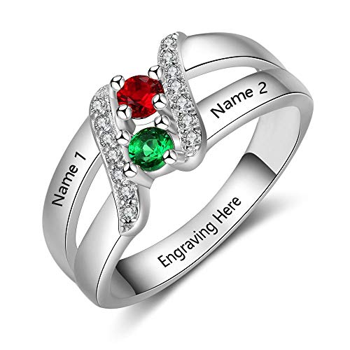 Lam Hub Fong Personalized Promise Ring 2 Simulated Birthstones Engagement Rings for Women Engravable Mothers Rings ()