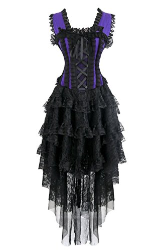 Kimring Women's Vintage Burlesque Victorian Steampunk Corset Dress Halloween Cancan Saloon Showgirl Costume Black/Purple Large ()