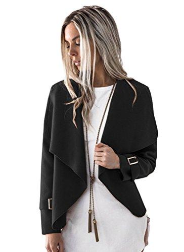 Cappotto Inverno Nero Sentao Corto Manica Casual Donna Lunga Autunno Giacca Outwear Tops 4nxxqfpO
