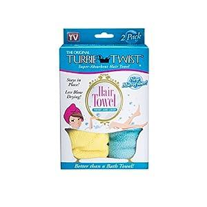 Turbie Twist Microfiber Hair Towel (2 Pack) Yellow-Aqua