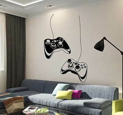 Great Vinyl Wall Decal Joystick Video Game Play Room Gaming Boys Stickers VS652