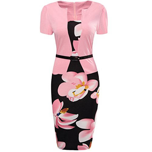 Honwenle Women's Summer Floral Print Colorblock Office Wear to Work Business Bodycon Fake Two-Piece Pencil Dress Colorblock 2 Piece Dress