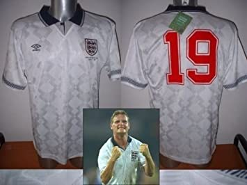 50aa8834b9e England 1990 Paul Gascoigne Gazza Retro Shirt Jersey BNWT Adult Large  Football Cotton Trikot Lazio Newcastle