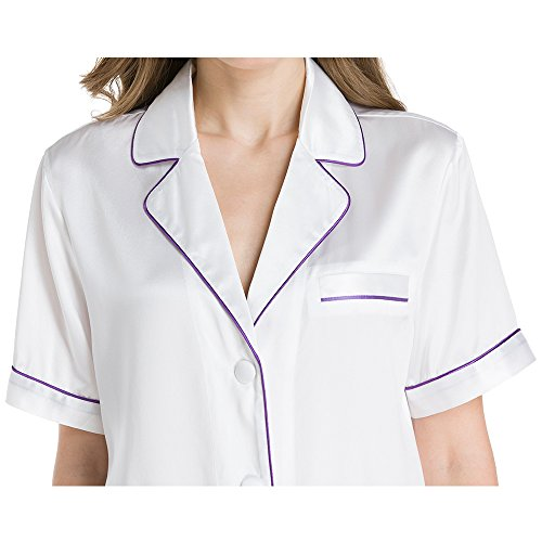 LILYSILK Pijamas Mujer Cortas de Seda Colores Contrastes - 100% Seda de Mora de 22MM de Grado 6A - Ropa de Dormir Super Cómodas, Transpirables y Lujosas Blanco