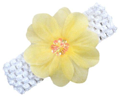 Avery Organza Flower Baby and Toddler Girls Crochet Headband (Yellow)