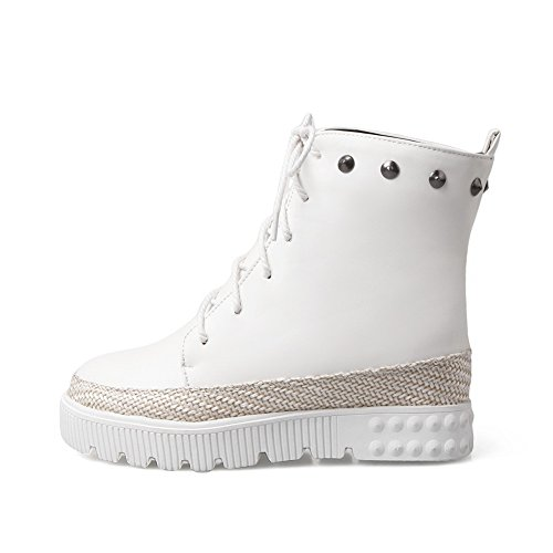 Platform Boots Leather Rivet BalaMasa White Girls Imitated Bandage 8wqYE