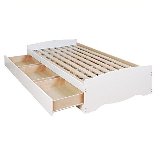Prepac Monterey White Twin Bookcase Platform Storage Bed