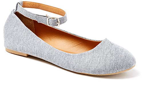Shop Pretty Girl Womens Casual Comfertable and Chic Canvas Flat With Ankle Strap Shoe Ballet Flat (10, Grey)