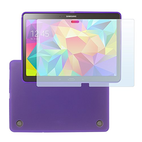 Cbus Wireless Matte Finish TPU Flex-Gel Silicone Case / Skin / Cover with 3x Screen Protectors Guards for Samsung Galaxy Tab S 10.5, T800, T805, T801 - Semi Transparent Purple
