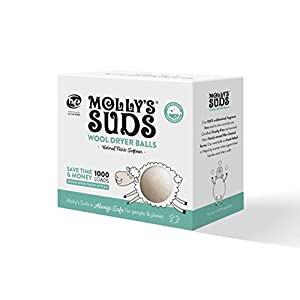 Molly's Suds Wool Dryer Balls (set of 3) - Natural Fabric Softener, Reduce Drying Time by 15-30%, Saves Money, Reusable, Unscented