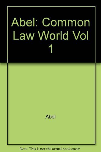 Lawyers in Society: The Common Law World 1st edition by Abel, Richard L., Lewis, Philip S. C. (1988) Hardcover