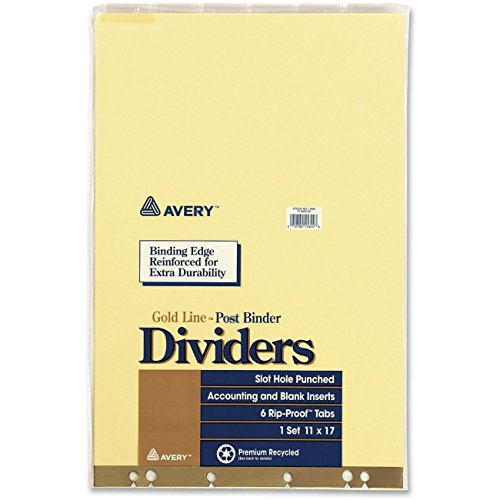 Cheap Avery Post Binder Dividers, 6-Tab w/Inserts, 11 x 17, Clear, 6/Set