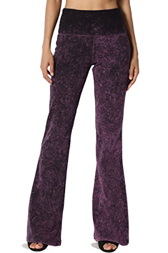 TheMogan Women's Mineral Acid Wash Flared Leg Sweat Yoga Pants Plum XL - Purple Acid Wash