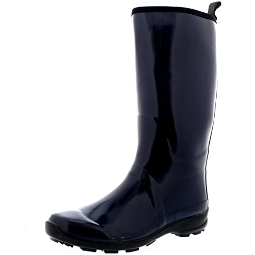Womens Contrast Sole Tall Rubber Gloss Waterproof Winter Rain Wellies Boots Navy