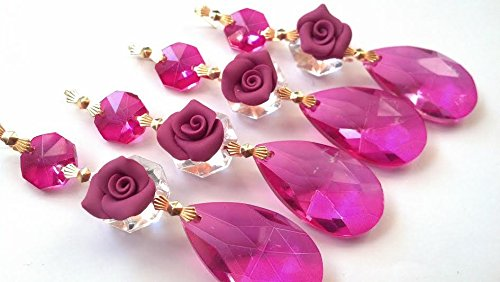 Pink Cottage Chic Crystal - 4 Chandelier Crystal Prisms Fuchsia Teardrop Ornament with Hot Pink Roses