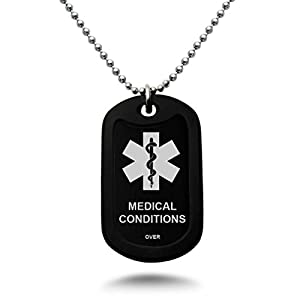 Custom Engraved Medical Alert ID Aluminum Dog Tag Necklace with Stainless Steel bead Chain MADE IN USA (Black)