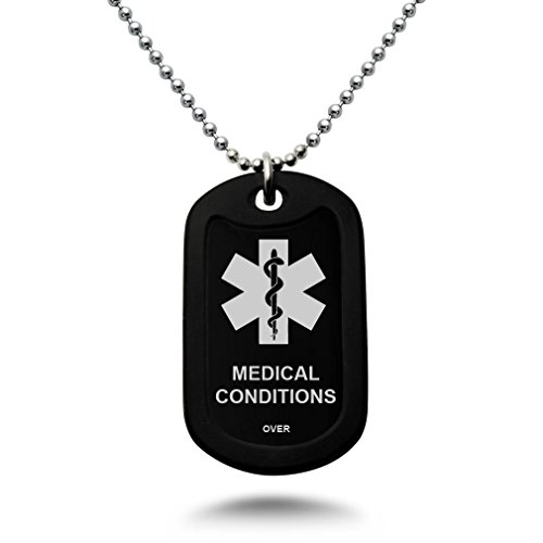 Kriskate & Co. Custom Engraved Medical Alert ID Aluminum Dog Tag Necklace with Stainless Steel Bead Chain Made in USA (Black) Custom Engraved Medical Id Tag