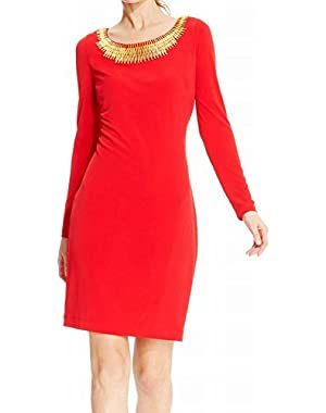 Calvin Klein Women's Embellished Neck Sheath Dress Red 14