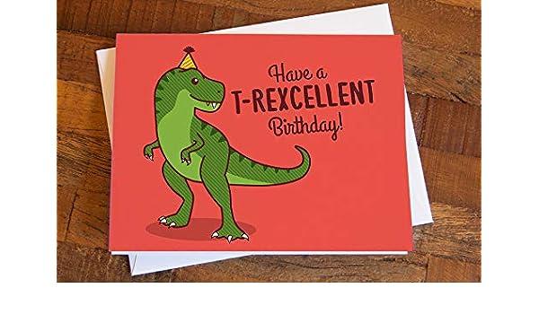 Handmade T-rex Dinosaur Skull Birthday Card