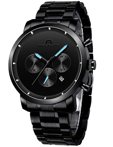 MEGALITH Mens Watches Military Stainless Steel Black Chronograph Watches for Men Large Face Waterproof Designer Mens…