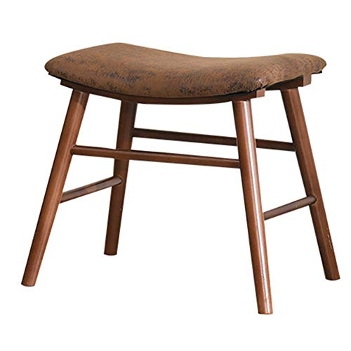 ve Multi-Purpose Shoe Bench Solid Wood Stool Home Fabric Dressing Stool Comfortable Cushion WEIYV (Color : Brown, Size : 503743cm) ()