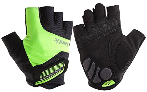 Santic Classic Fingerless Cycling Gloves with Shock-Absorbing Foam Pad Breathable Half Finger Moutain Bike Bicycle Riding Gloves for Men and Women Hi-Viz L