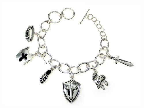 4031450 Armor of God Charm Bracelet Christian Scripture Strength and Protector