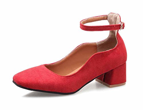 Mujer Correa De Tobillo 2018 Nuevo Primavera De Las Mujeres Talón Cuadrado Zapatos Solos Tallas Grandes 40-45 Zapatos De Tacón Alto Citas Zapatos Rojo