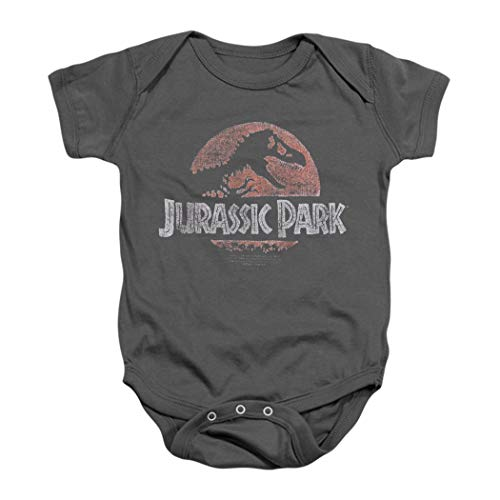 Jurassic Park Faded Logo T Rex Baby Onesie Bodysuit (12 mos) Charcoal