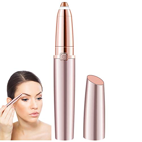 SHINCO Painless Eyebrow Hair Remover for Women,Portable Eyebrow Trimmer Razor with LED Light,Lipstick-Sized Eye brow Epilator,Facial Hair Shaver For Good Finishing (Rose Gold) (As Seen On Tv Laser Hair Removal)