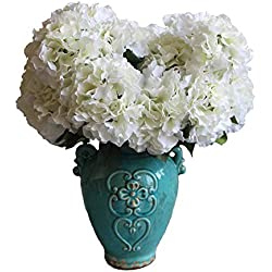 Duosuny Artificial Silk Fake 5 Heads Flower Bunch Bouquet Home Hotel Wedding Party Garden Floral Decor Hydrangea (White)