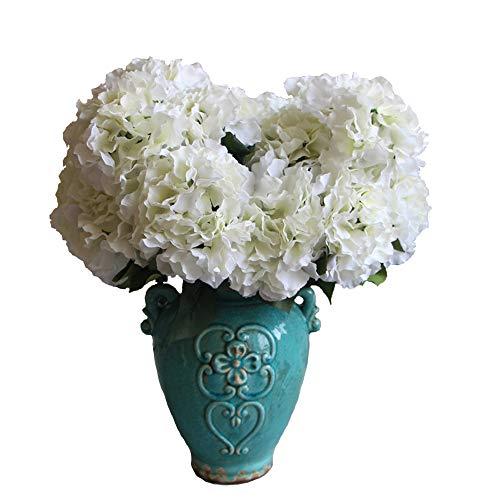 Duosuny Artificial Silk Fake 5 Heads Flower Bunch Bouquet Home Hotel Wedding Party Garden Floral Decor Hydrangea White