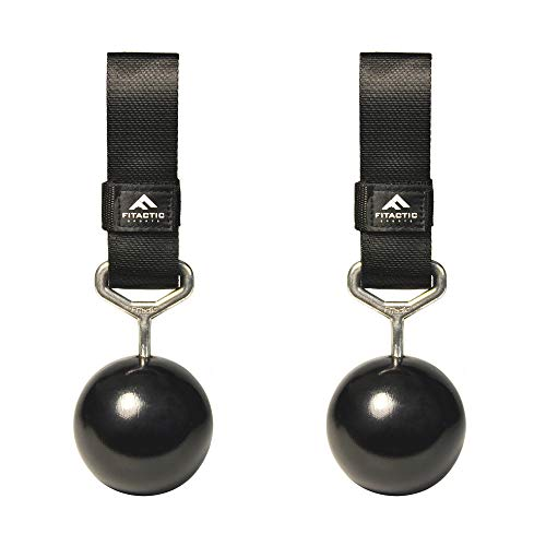 FITactic 3 Inches Rock Climbing Solid Training Cannonball Bomb Pull Up Power Ball Hold Grips for Straps for Finger, Forearm, Biceps, Back Muscles (Qty 2, Black)