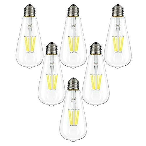 Augeek LED Edison Bulb 40W Equivalent Daylight White 5000K, 4W Vintage LED Light Bulb E26/E27 Base ST64 for Restaurant,Home,Reading Room,Office, UL Listed, 6 Pack