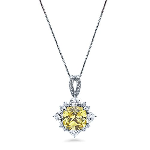 BERRICLE Rhodium Plated Sterling Silver Yellow Cushion Cut Cubic Zirconia CZ Halo Flower Anniversary Wedding Pendant Necklace