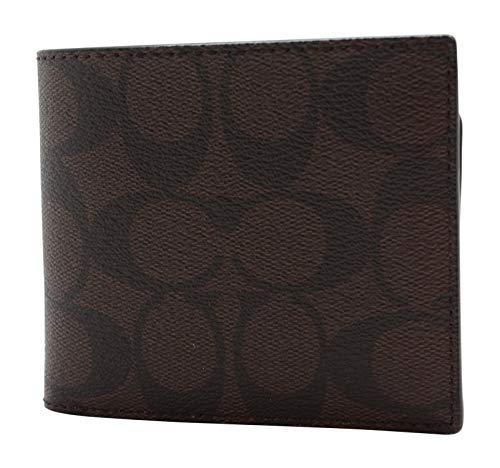 Coach Men F74993 Signature PVC Compact ID Wallet Mahogany/Black
