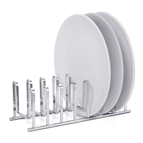 - Modern Chrome Plated Compact Dish Drying Rack Holder, Cupboard 7 Slot Plate Storage Organizer, Silver
