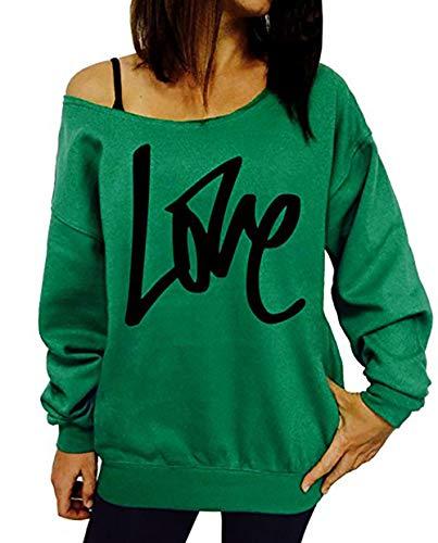 Blouse Oblique Manches T Casual Impression Automne paule Sweat Lettre Pullover Fashion Printemps Shirts Femmes Pulls Tops Fashion Longues Hauts Vert Shirts Jumpers Simple Lache et CwqTTZ