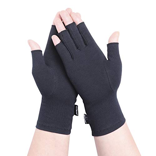 YOWBAND Compression Arthritis Gloves Men&Women- Fingerless Hand Gloves for Joint Pain Relief, Carpal Tunnel and Dairywork