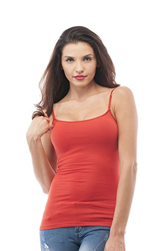 (Cami Camisole Built in Shelf BRA Adjustable Spaghetti Strap Tank Top Plus Size (2XL, Rust) )