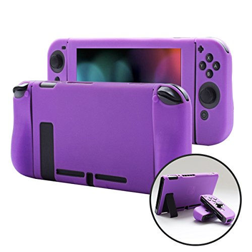 Nintendo Silicone Sleeves - Pandaren Cover Skin Compatible for Nintendo Switch Consoles and Joycon 3in1 Silicone Case with Larger Hand GRIP Protector(Purple)