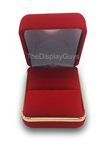 The Display Guys Deluxe VELVET Gift Jewelry Box Presentation Display Case with Gold Trim Metal Hinge For Wedding Proposal Engagement or Retail Shop (2 1/8x1 7/8x1 1/2 inch For Ring, Red) (Diy Ring Box)