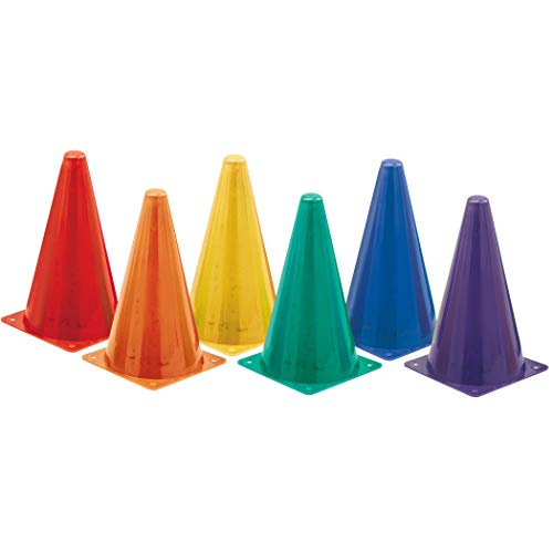 Champion Sports Hi Visibility Fluorescent Plastic Cone Set, Set of 6