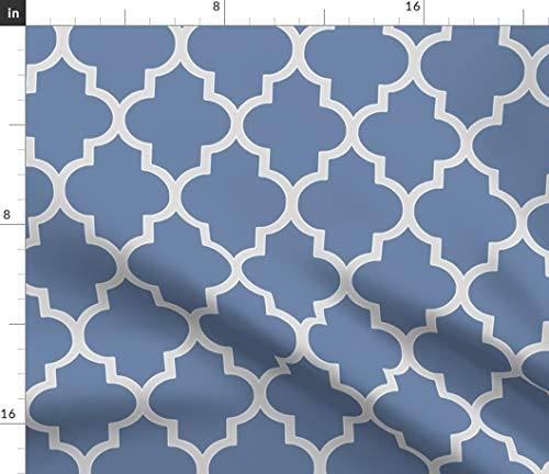 (Spoonflower Blue Gray Ogee Geometric Fabric - French and Sterling Quatrefoil Moroccan Print on Fabric by The Yard - Basketweave Cotton Canvas for Upholstery Home Decor Bottomweight Apparel )